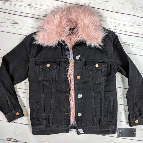 1f820fdf447b Shaci Fur Jacket Black Jean Jacket Pink Faux Fur